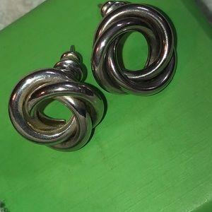 Silver Tone Omega Knot Pierced Back Earrings